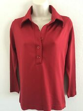 VINTAGE GIVENCHY SPORT DEADSTOCK RED POLO HENLEY LOGO PULLOVER TOP SIZE 36/MED