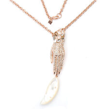 De Buman 18K Rose Gold Plated Mother-of-Pearl & Hand touch Style Necklace, 31''