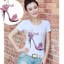 Pop Flower High Heels Patches 21.7*25cm Iron On Transfers For Clothing Stickers