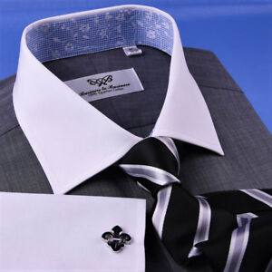 Gray Dress Shirt Men's Asphalt White Contrast French Cuff Grey Business Floral