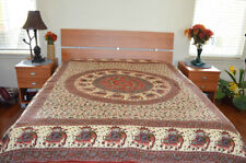 Cotton Red and Green Block Printed Beige Base Color Flat Bed Sheet from India