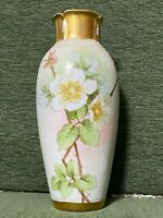 "Antique Hand Painted Nippon 10"" Vase Gold Accents & beautiful floral design"