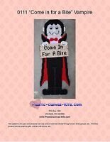 Come in For a Bite Halloween Vampire Wall Hanging-Plastic Canvas Pattern or Kit
