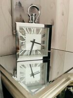 New Silver Chrome Metal Table Clock Modern Shelf Table Mantel Clock Home Decor