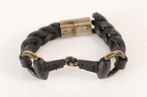 Gucci black 925 sterling braid leather signature horse bit logo bracelet $790