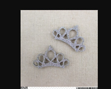 Silver Glitter Crown 30mm wide Hair accessories, scrapbooking craft (pack of 3)