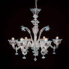 Lustre en verre de Murano 6 lumières cristal bleu clair