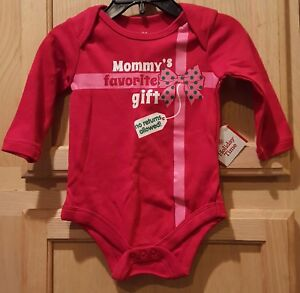 """1-Pc Red Baby Creeper says: """"Mommy's Favorite Gift. No Returns Allowed!"""" w/Bow"""