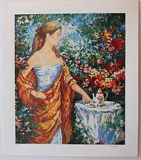 "Igor Semeko Limited Edition Serigraph ""Tea Time"" Modern Floral Lady Garden Art"