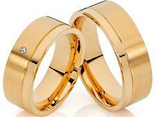 2 Eheringe Trauringe Verlobungsringe 18 Karat vergoldet 1 Zirkonia & Gravur