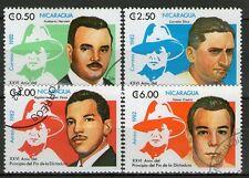 SERIE DE 4 TIMBRES OBLITERES - NICARAGUA - CELEBRITES LOCALES
