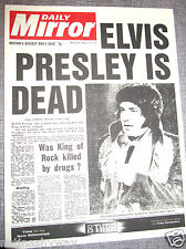 ELVIS Presley Dead Newspaper Daily Mirror Rock n Roll Pop Star Singer Very Sad