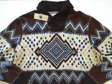 New Ralph Lauren Denim and Supply Indian Print Shawl Collar Brown Sweater S