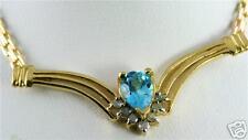 GORGEOUS 10K GOLD SWISS BLUE TOPAZ DIAMOND NECKLACE