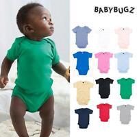 BabyBugz Baby Bodysuit Girls Boys One Piece Toddler Plain Cotton Babygro 0-24mth