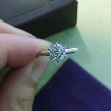 Ring 14k White Gold Finish 1.50Ct Round-Cut Vvs2 Diamond Solitaire Engagement