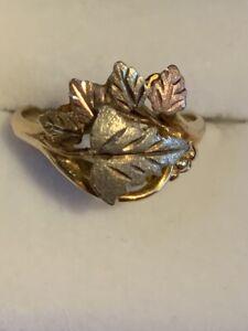 Landstrom's 10k Black Hills Gold Ladies Leaf Ring Size 5.75 with Box2.4 Grams