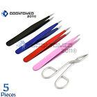 ODM Fine Pointed tweezers Stainless Steel Eyebrow Tweezers COLORS 5 pieces