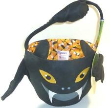 Trick Treat Basket Black Bat Halloween Flipeez Handle Wings Flap Candy Corn New