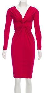 Donna Karan Fuschia Pink Long Sleeve Casual Evening Dress Drape Size Small NEW