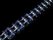 Silver BLUE Dual Bike Chain Bracelet for Harley Davidson 1% ER Outlaw Biker 152