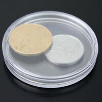 10 PCS Convenient Coins Capsule Container Clear Case Storage Protector Round New