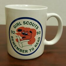 1992 1993 Girl Scouts Remember To Read Coffee Mug Pink Elephant Book