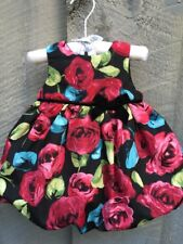 CHILDRENS PLACE Sleeveless Baby Dress & Panty Bubble Black Red Roses 3-6 Mo NWT