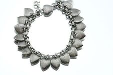 Antique Sterling Silver Friendship Forget Me Not Puffy 19 Heart Charm Bracelet