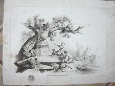 Enfants, à la source, sous un arbre, gravure époque 18ème.