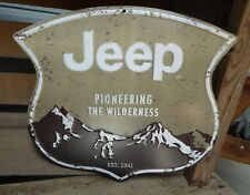 JEEP WILDERNESS Wrangler 4x4 CJ Rubicon Gas Garage Tin Embossed METAL SIGN