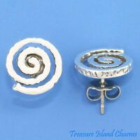Swirl Spiral Indian Petroglyph 925 Sterling Silver Stud Post Earrings USA MADE