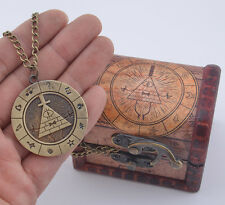 Gravity Falls Bill Cipher Boss Necklace Metal Pendant With Woodbox Otaku Gift