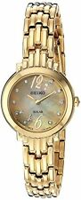Seiko SUP356 Women's Tressia Gold Tone Diamond Accented Watch w/ MOP Dial