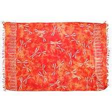 Sarong/Pareo/Wrap - Terracotta w/tan Dragonflies - handmade in Bali - Hary Dary