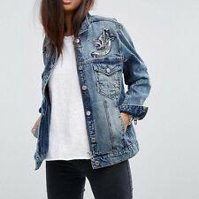 NWT BLANK NYC Embroidered Bird Distressed Denim Jean Jacket Size Small Oversized