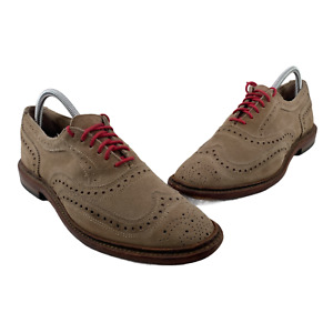 Allen Edmonds Neumok Mens Size 8 D Shoes Lace Up Wingtip Beige Brogue Oxford