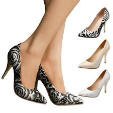 Elegant High Heels Pointed toe Office Floral print Rose Womens Shoes Plus size