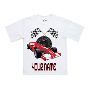 Top BOYS/GIRLS Personalised Formula one Racing CAR F1 T Shirt Great Gift Idea