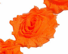 "1/2 yard neon orange 2.5"" shabby chiffon rose trim flowers DIY baby headband"