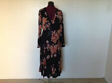 NWT FREE PEOPLE $148 Miranda Printed Midi Dress*Front Slits*Black*Sz 4