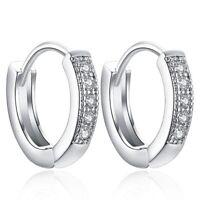 Sterling Silver Earrings Huggie Hoop 925 Women Jewelry Dangle S Crystal Wedding