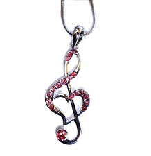 Silver Tone Pink Crystal Treble G Clef Music Note Heart Necklace Fast Shipping