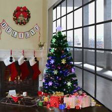 4FT Pre-Lit Fiber Optic Artificial Christmas Tree w/Multicolor Lights Snowflakes