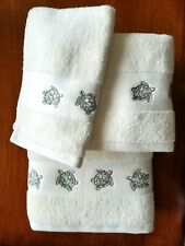 New Charmont Bathroom Embroidered Turtles Bath/Hand/Tip Towel 3 Piece Set