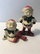 Vintage ~Rare~ Ceramic Pixie Elf Figurines Green White Red