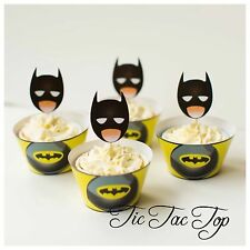 12x Batman Superhero Cupcake Topper + 12 Wrapper. Party Supplies Lolly Loot Bag