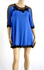 "Marjolaine Short Nightie Viscose Blue & Black ""scruple""l 42"