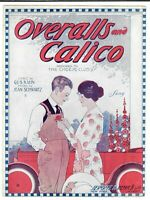 Scarce Sheet Music OVERALLS AND CALICO Cheese Club ART DECO Kahn & Schwartz 1920