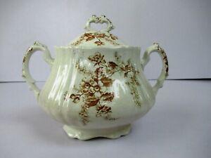 "Antique European Pottery Sugar Pot Floral Design Brown Color Decorative Rare ""F"